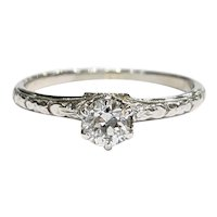 18kt Old Mine cut Diamond Engagement Ring