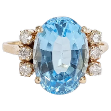 14kt Blue Topaz and Diamond Ring