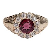 Victorian 14kt Rhodolite Garnet and Old Mine cut Diamond Ring
