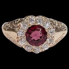 Victorian 14kt Rhodolite Garnet and Old Mine cut Diamond Ring