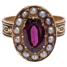 Victorian 14kt Pink Sapphire and Seed Pearl Ring