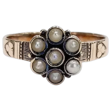 Victorian 14kt Seed Pearl Cluster Ring