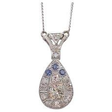 Art Deco Platinum Diamond and Sapphire Pendant