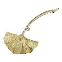 Somos 18k Diamond Ginko Leaf