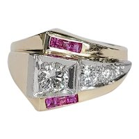 14kt Two-tone Diamond and Ruby Ring