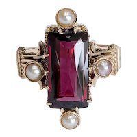 Victorian 14kt Rhodalite Garnet and Sead Pearl Ring