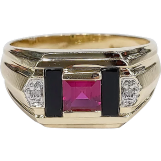 14kt Two-tone Ruby, Black Onyx and Diamond Ring