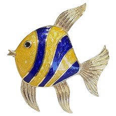 18kt Guilloche Enamel Angel Fish Brooch