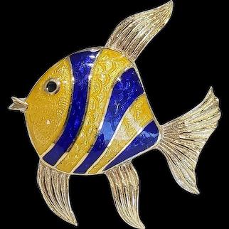 18kt Guilloche Enamel Angel Fish Brooch