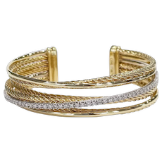 David Yurman 18kt Diamond Crossover Cuff Bracelet