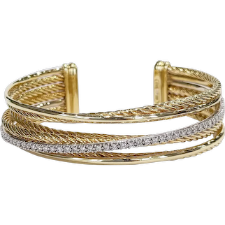 David Yurman 18kt Diamond Crossover Cuff Bracelet
