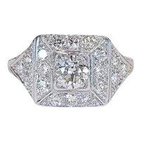 Platinum set Old Mine and European cut Diamond Ring