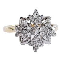 18kt Two-tone Diamond Cluster Ring