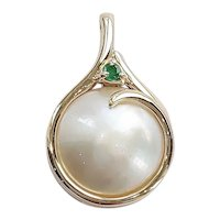 14kt Mabe Pearl and Emerald Pendant