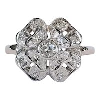 14kt Diamond Four Leaf Clover Ring