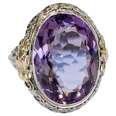 18kt Tricolor Amethyst Ring