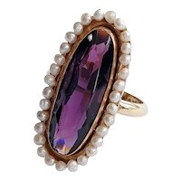 14kt Purple Glass and Freshwater Pearl Ring