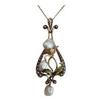 Sylkay 14KT Pearl and Multicolor Enamel Necklace