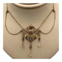14KT Pearl and Multicolor Enamel Festoon Necklace Circa 1900