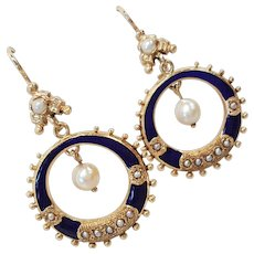 Victorian 14kt Cultured/Sea Pearl Earrings with Rich Blue Enameling