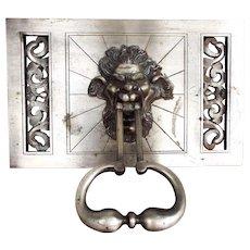 Vintage Art Deco 1920 Door Knocker Nickel Brass Aluminum North Wind Head Italian