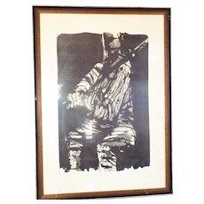 "Eugene Larkin Signed ""The Violinist"" Limited Edition Woodcut Print"
