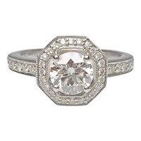 14 Karat White Gold Diamond Engagement Ring With Octagon Halo