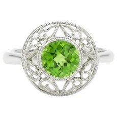 14 Karat White Gold Round Peridot Ring