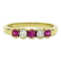 18 Karat Yellow Gold Ruby and Diamond Bezel Set Band