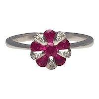 14 Karat White Gold Ruby and Diamond Cluster Ring