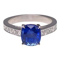 Custom Made 18 Karat White Gold Cushion Cut Sapphire and French Cut Diamond Ring