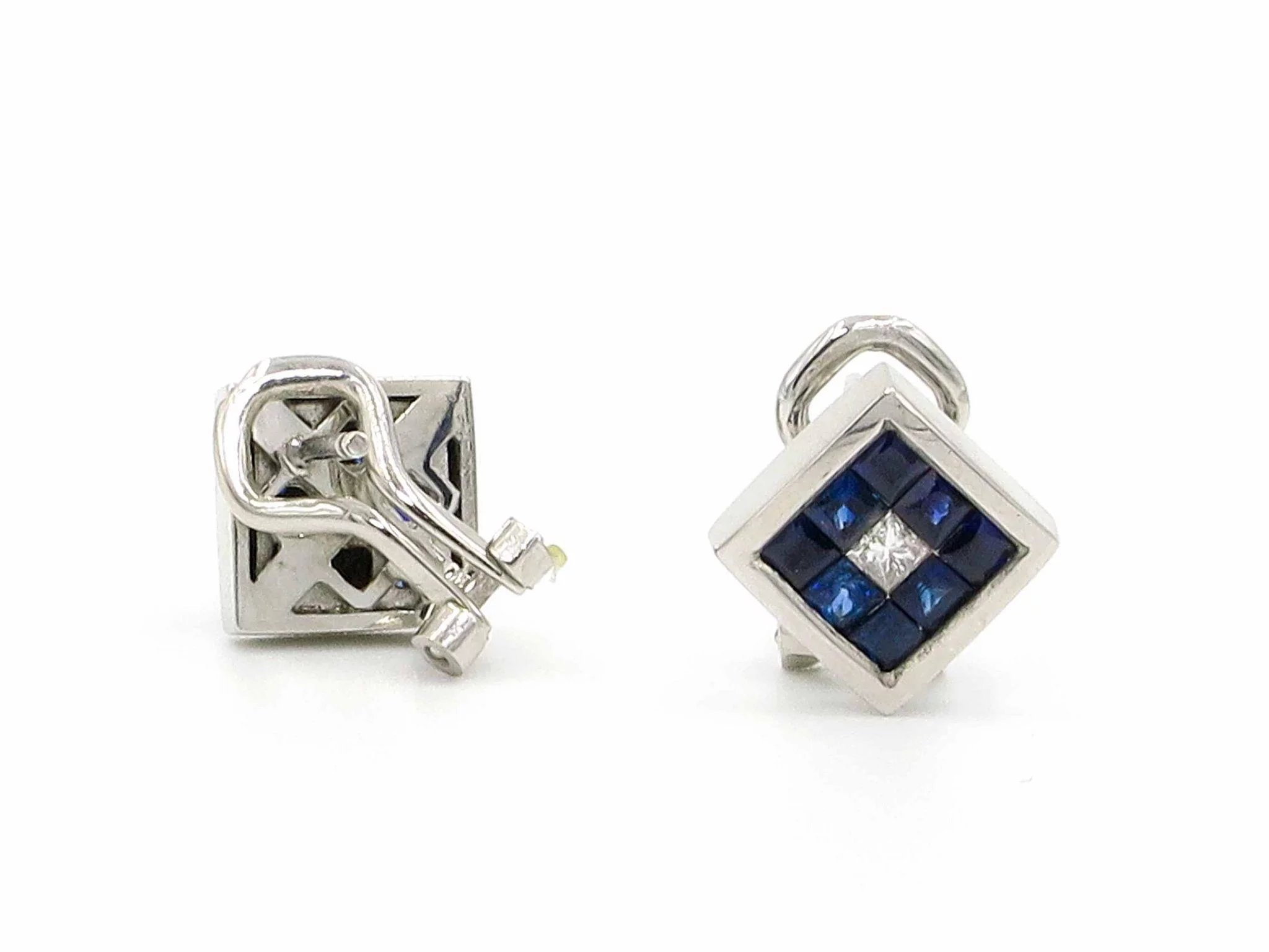 14 karat white gold sapphire and diamond square stud for Estate jewelry burlington vt