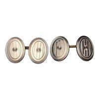 Art Deco Oval Engraved Cufflinks | 14 Karat Yellow Gold