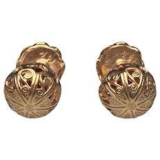 Scroll Motif Cufflinks   14 Karat Yellow Gold