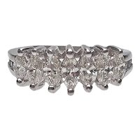 Marquise Diamond Seven Stone Band | Platinum