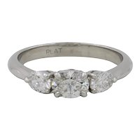 Platinum Oval 3 Diamond Horizontal Ring