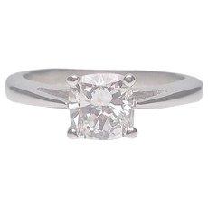 Diamond Cushion Cut Solitaire Engagement Ring | 18 Karat White Gold