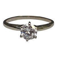 Diamond 6 Prong Solitaire Engagement Ring | 14 Karat White Gold