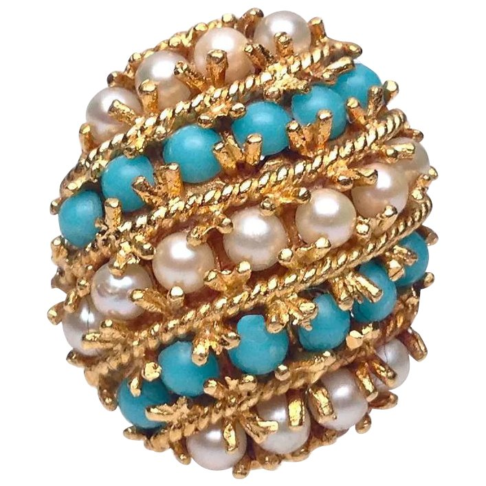 18 karat yellow gold turquoise and pearl striped ring for Estate jewelry burlington vt