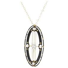 14 Karat Yellow Gold Diamond, Seed Pearl and Black Enamel Pendant