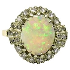 Cabochon Opal and Diamond Ring in 14 Karat Yellow and White Gold