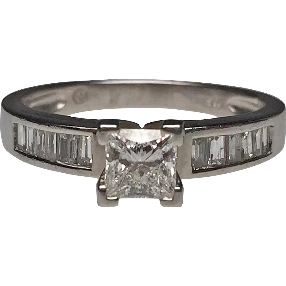 Platinum princess cut and baguette diamond ring lippa 39 s for Estate jewelry burlington vt