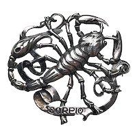 Silver Scorpio Astrological Sign Brooch Signed Cini