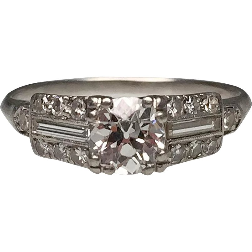 Diamond art deco ring with baguettes platinum lippa 39 s for Estate jewelry burlington vt