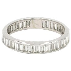 Diamond Baguette Eternity Band | 14 Karat White Gold