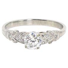 Edwardian 0.57 Carat Old European Cut Diamond Engagement Ring | Platinum