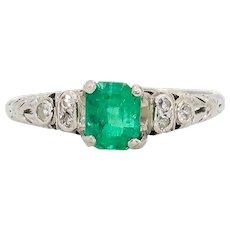 1.02 Carat Emerald and Diamond Ring | Platinum