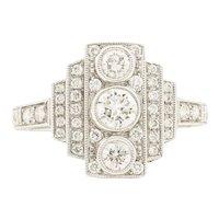 18 Karat White Gold 3 Stone Art Deco Style Diamond Ring