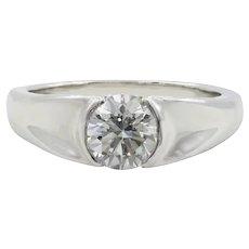 Platinum Half Bezel Set Diamond Engagement Ring