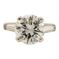Platinum 4.45 Carat Round Brilliant Cut Diamond Ring